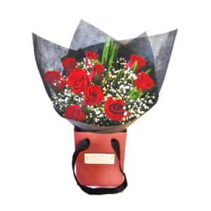 Traditional Love Bouquet with 10 Long Stem Red Roses